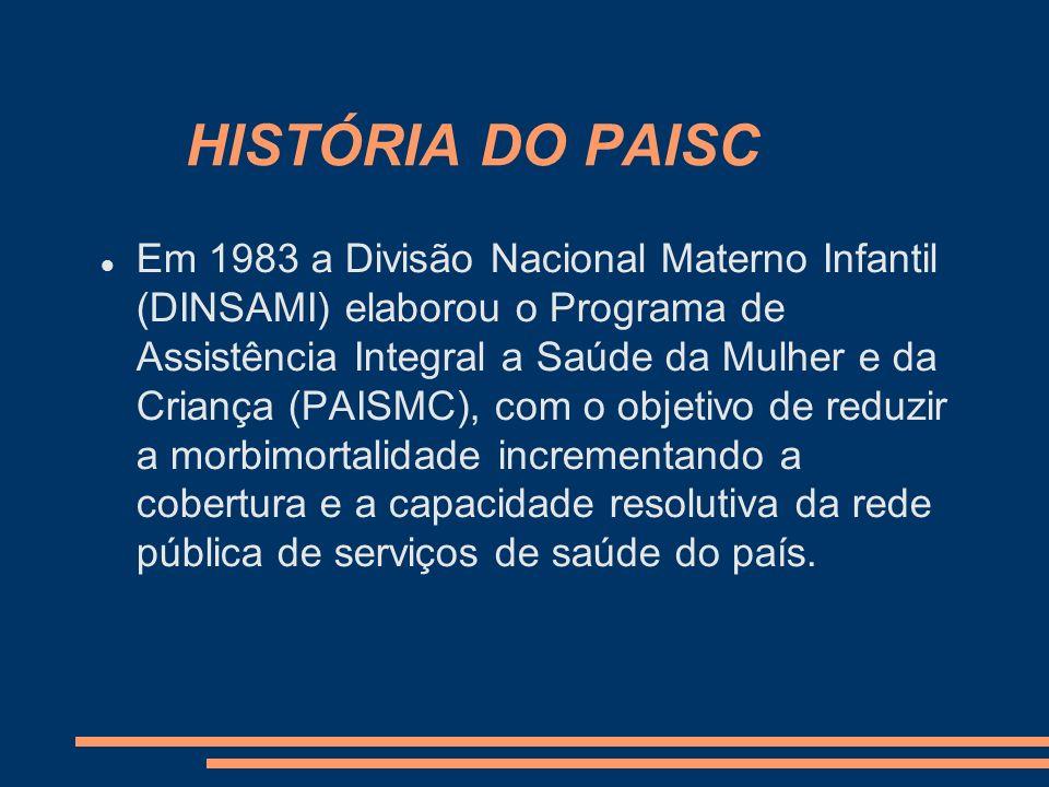 HISTÓRIA DO PAISC Em 1984, o PAISMC foi implantado e posteriormente houve a separação do programa da mulher passando, então, a ser denominado Programa de Assistência Integral à Saúde da Criança (PAISC).
