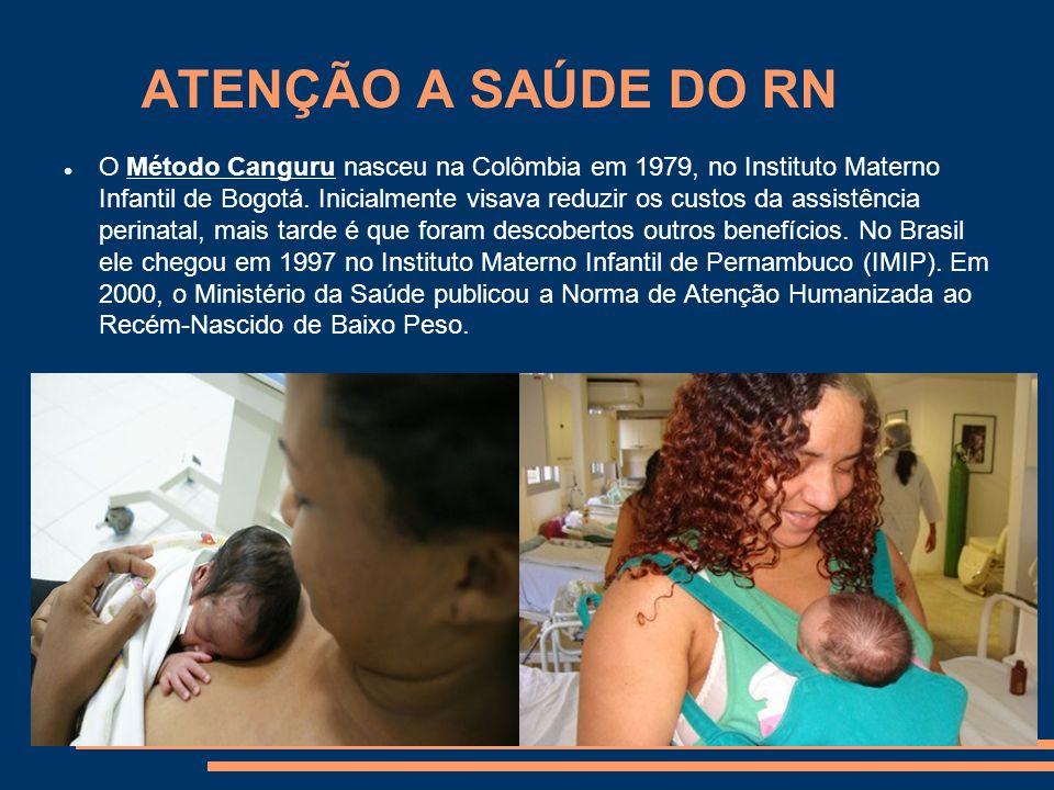 ATENÇÃO A SAÚDE DO RN O Método Canguru nasceu na Colômbia em 1979, no Instituto Materno Infantil de Bogotá. Inicialmente visava reduzir os custos da a