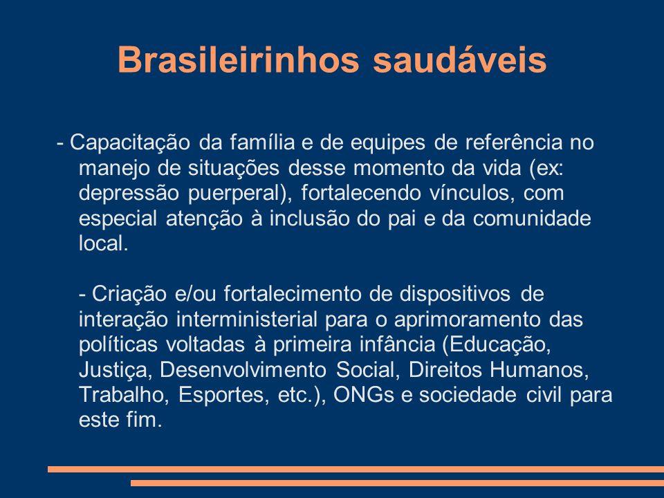 Brasileirinhos saudáveis - Capacitação da família e de equipes de referência no manejo de situações desse momento da vida (ex: depressão puerperal), f