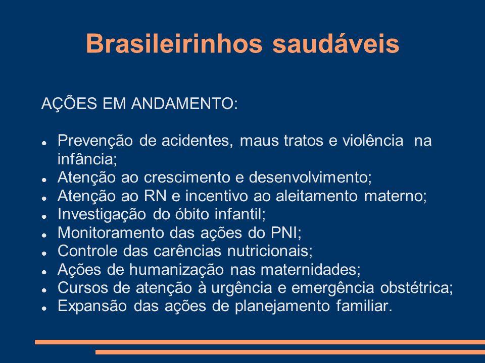 Brasileirinhos saudáveis AÇÕES EM ANDAMENTO: Prevenção de acidentes, maus tratos e violência na infância; Atenção ao crescimento e desenvolvimento; At