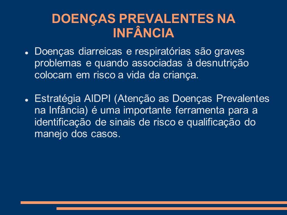 DOENÇAS PREVALENTES NA INFÂNCIA Doenças diarreicas e respiratórias são graves problemas e quando associadas à desnutrição colocam em risco a vida da c