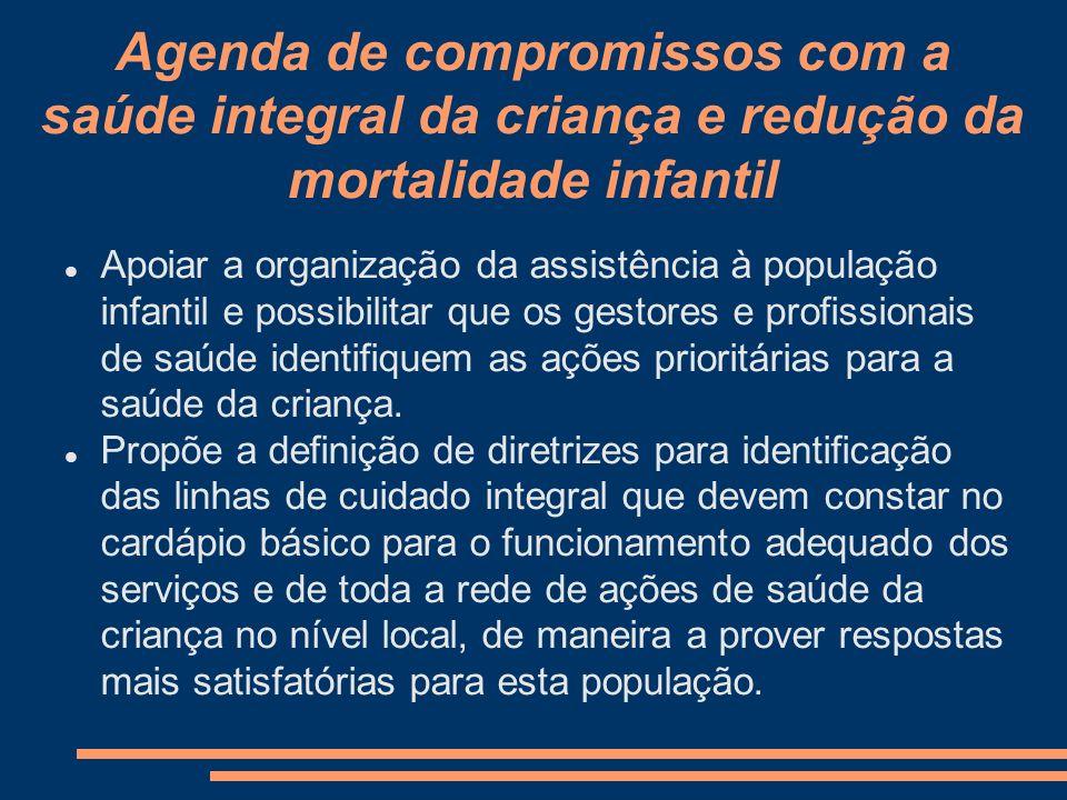 Agenda de compromissos com a saúde integral da criança e redução da mortalidade infantil Apoiar a organização da assistência à população infantil e po