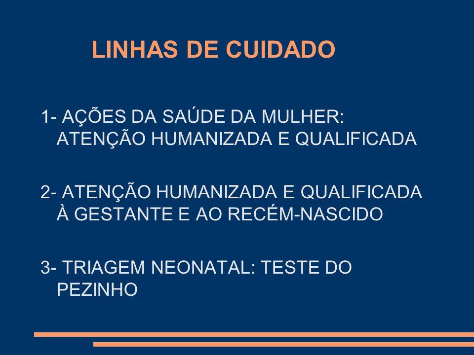 LINHAS DE CUIDADO 1- AÇÕES DA SAÚDE DA MULHER: ATENÇÃO HUMANIZADA E QUALIFICADA 2- ATENÇÃO HUMANIZADA E QUALIFICADA À GESTANTE E AO RECÉM-NASCIDO 3- T