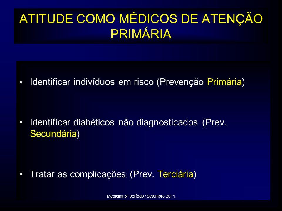 ATITUDE COMO MÉDICOS DE ATENÇÃO PRIMÁRIA Identificar indivíduos em risco (Prevenção Primária) Identificar diabéticos não diagnosticados (Prev.