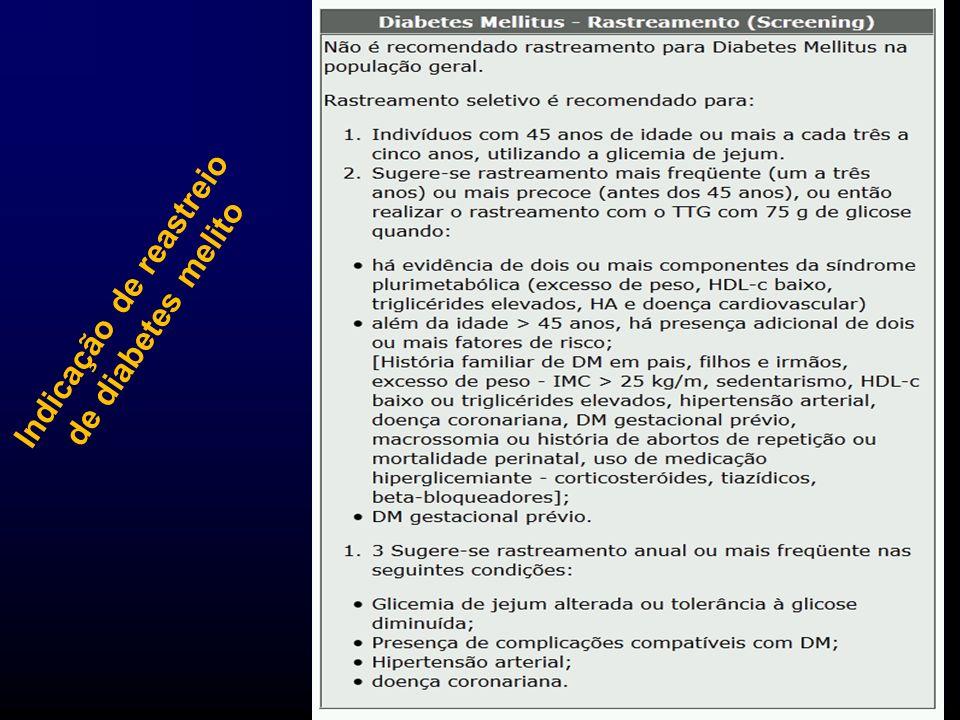 Medicina 6º período / Setembro 2011 Indicação de reastreio de diabetes melito