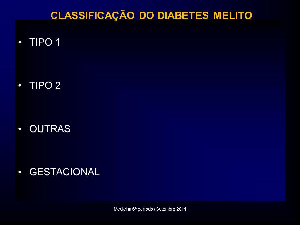 TIPO 1 TIPO 2 OUTRAS GESTACIONAL Medicina 6º período / Setembro 2011 CLASSIFICAÇÃO DO DIABETES MELITO