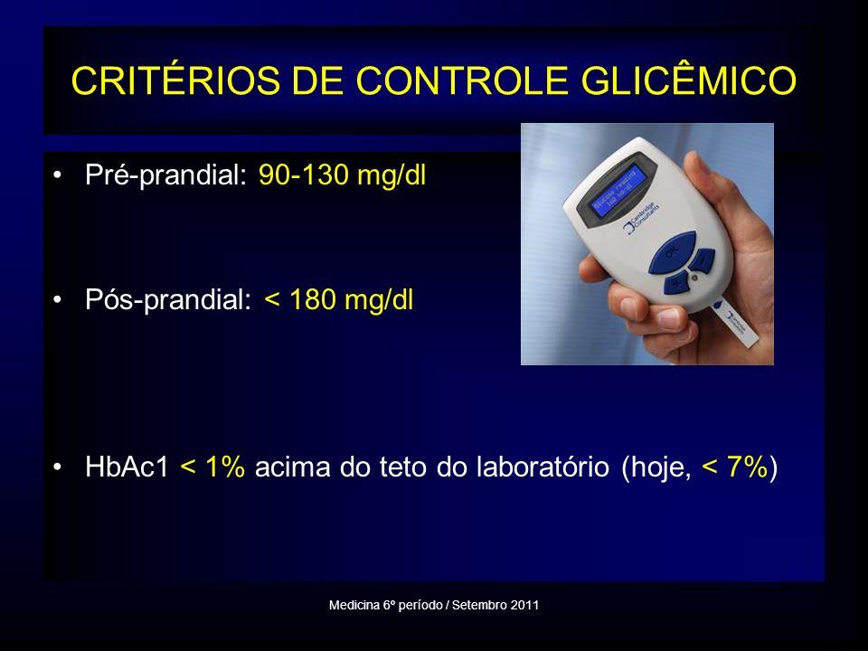 CRITÉRIOS DE CONTROLE GLICÊMICO Pré-prandial: 90-130 mg/dl Pós-prandial: < 180 mg/dl HbAc1 < 1% acima do teto do laboratório (hoje, < 7%) Medicina 6º período / Setembro 2011