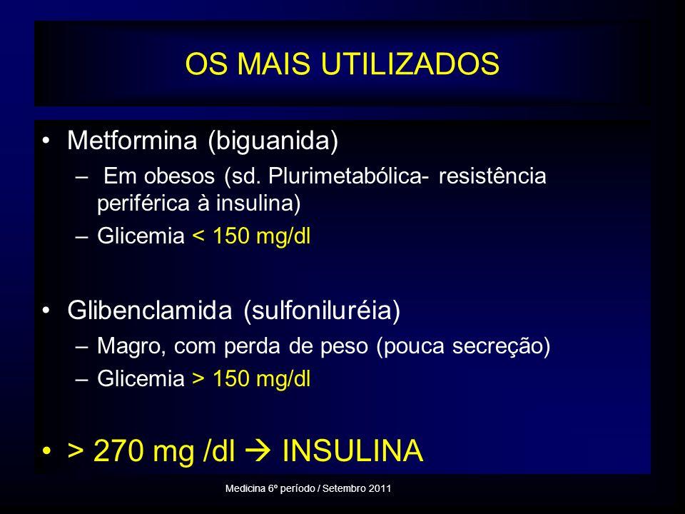 OS MAIS UTILIZADOS Metformina (biguanida) – Em obesos (sd.