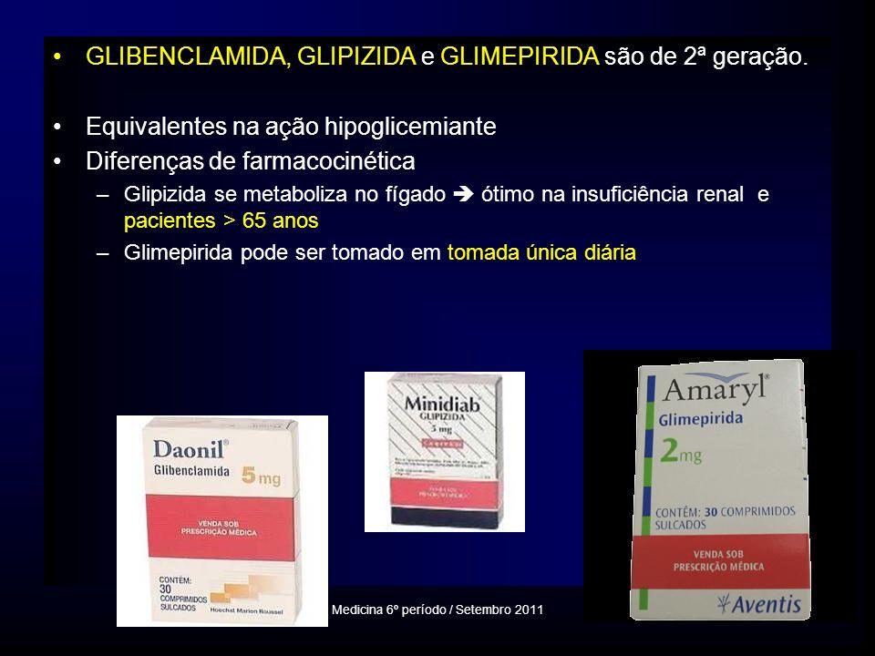 GLIBENCLAMIDA, GLIPIZIDA e GLIMEPIRIDA são de 2ª geração.