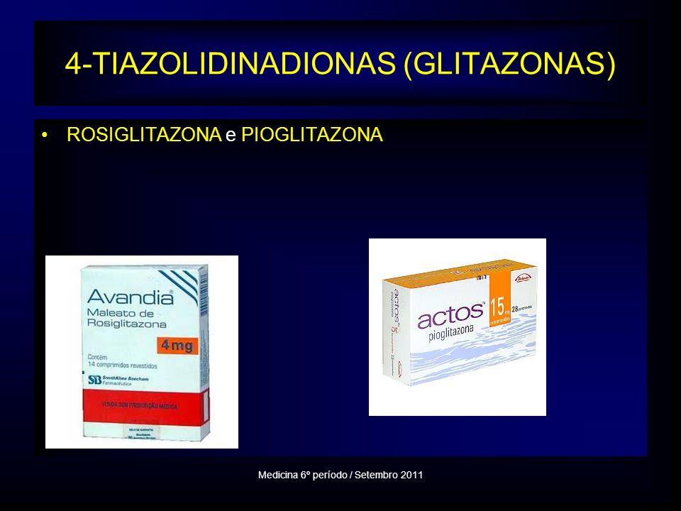 4-TIAZOLIDINADIONAS (GLITAZONAS) ROSIGLITAZONA e PIOGLITAZONA Medicina 6º período / Setembro 2011