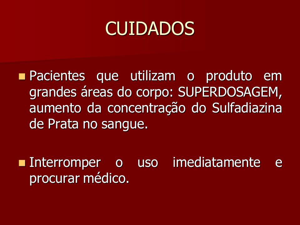CUIDADOS Pacientes que utilizam o produto em grandes áreas do corpo: SUPERDOSAGEM, aumento da concentração do Sulfadiazina de Prata no sangue. Pacient