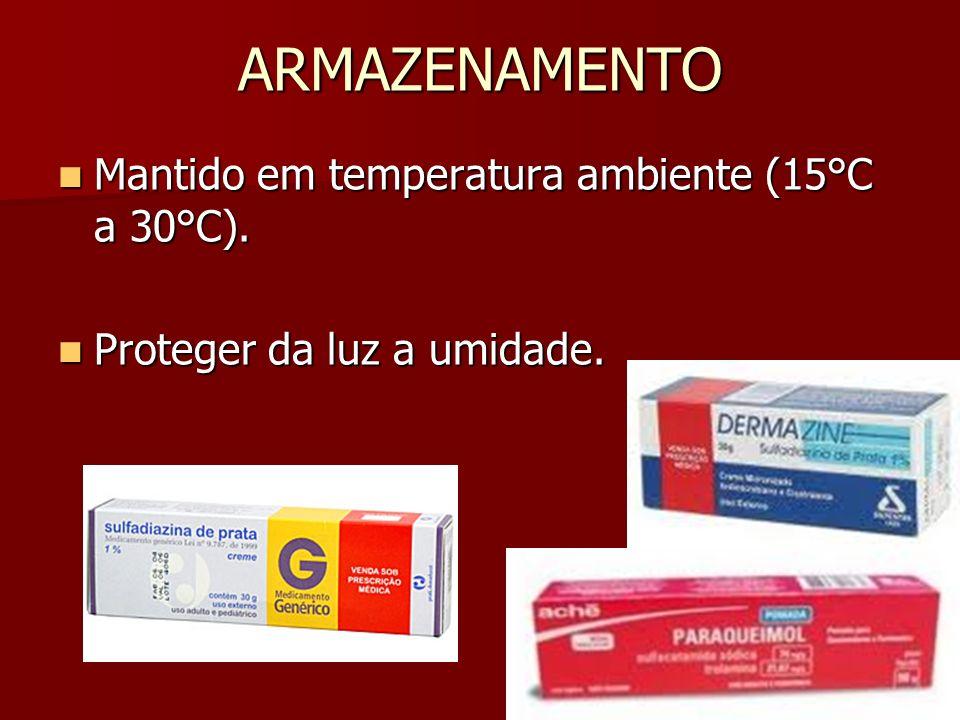 ARMAZENAMENTO Mantido em temperatura ambiente (15°C a 30°C). Mantido em temperatura ambiente (15°C a 30°C). Proteger da luz a umidade. Proteger da luz