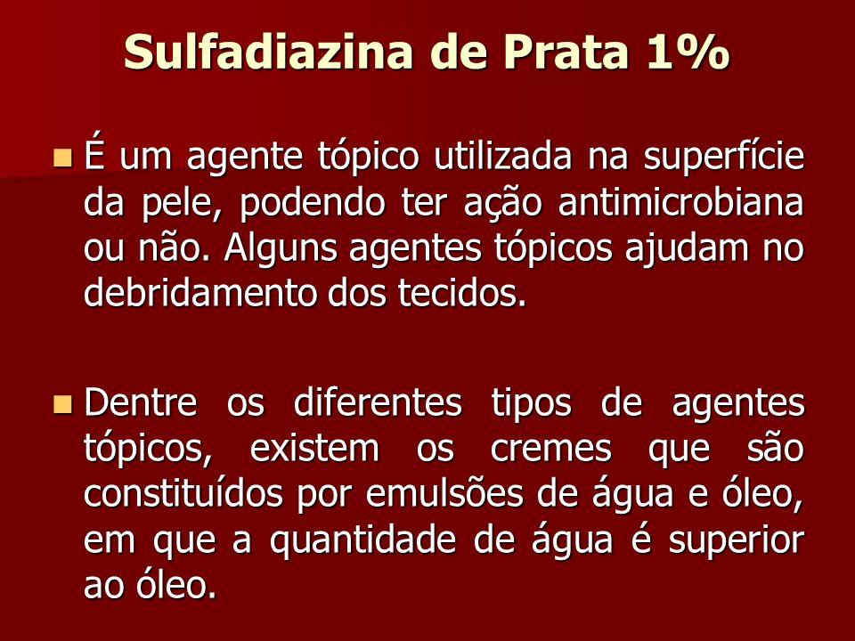 Sulfadiazina de Prata 1% É um agente tópico utilizada na superfície da pele, podendo ter ação antimicrobiana ou não. Alguns agentes tópicos ajudam no