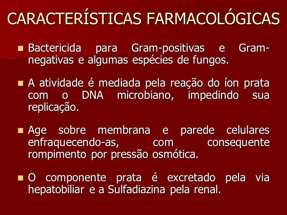 CARACTERÍSTICAS FARMACOLÓGICAS Bactericida para Gram-positivas e Gram- negativas e algumas espécies de fungos. Bactericida para Gram-positivas e Gram-