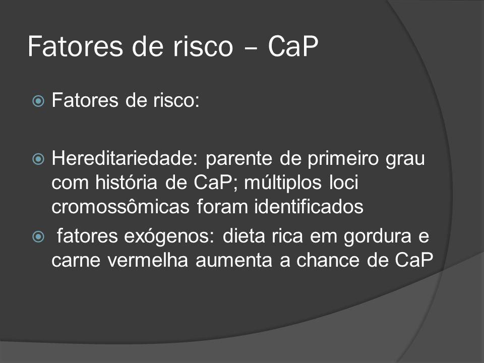 Fatores de risco – CaP Fatores de risco: Hereditariedade: parente de primeiro grau com história de CaP; múltiplos loci cromossômicas foram identificad