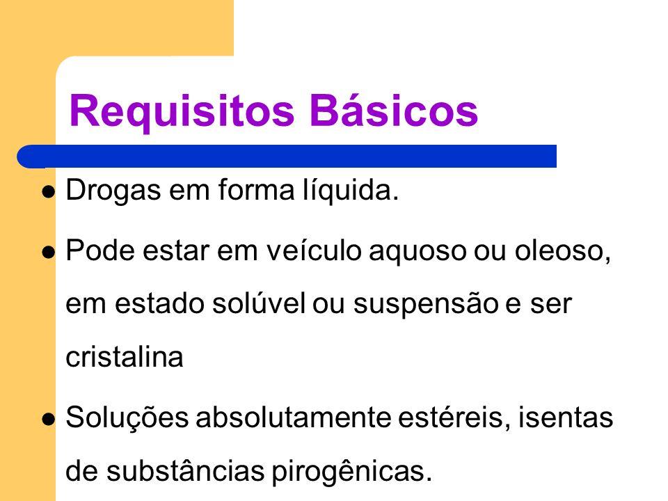 Requisitos Básicos Drogas em forma líquida. Pode estar em veículo aquoso ou oleoso, em estado solúvel ou suspensão e ser cristalina Soluções absolutam