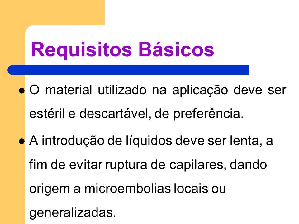 Requisitos Básicos O material utilizado na aplicação deve ser estéril e descartável, de preferência. A introdução de líquidos deve ser lenta, a fim de