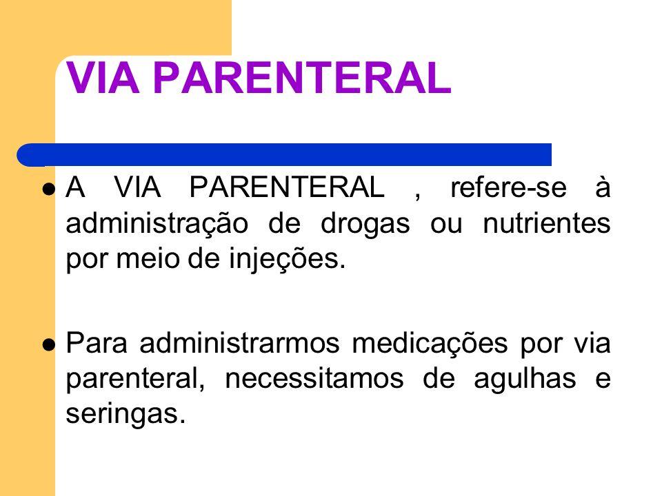 VIA PARENTERAL A VIA PARENTERAL, refere-se à administração de drogas ou nutrientes por meio de injeções. Para administrarmos medicações por via parent