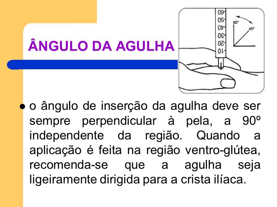 ÂNGULO DA AGULHA o ângulo de inserção da agulha deve ser sempre perpendicular à pela, a 90º independente da região. Quando a aplicação é feita na regi
