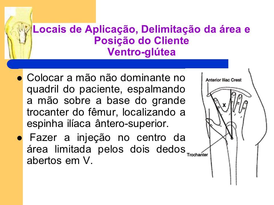 Locais de Aplicação, Delimitação da área e Posição do Cliente Ventro-glútea Colocar a mão não dominante no quadril do paciente, espalmando a mão sobre