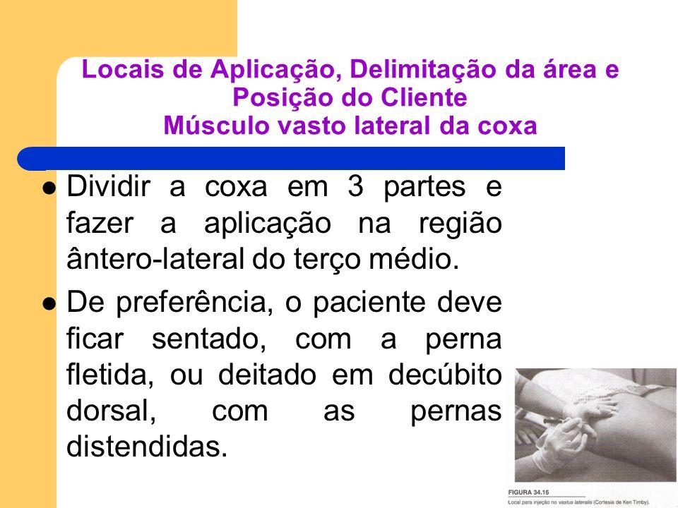 Locais de Aplicação, Delimitação da área e Posição do Cliente Músculo vasto lateral da coxa Dividir a coxa em 3 partes e fazer a aplicação na região â