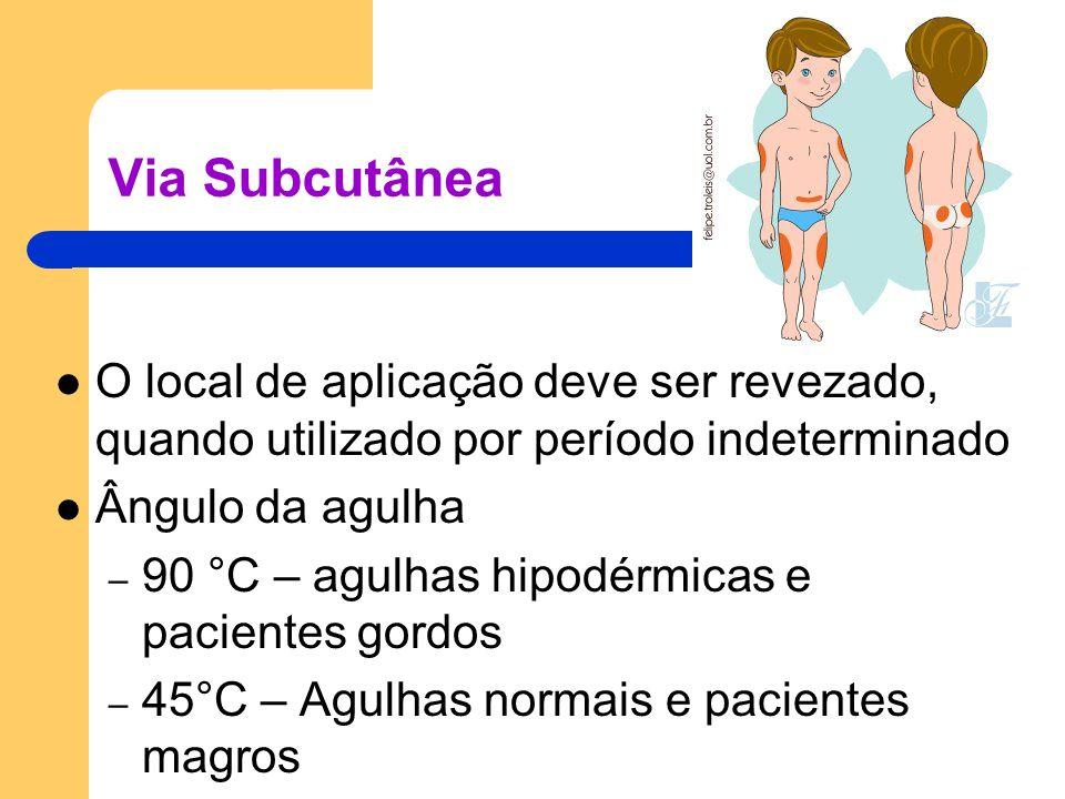 Via Subcutânea O local de aplicação deve ser revezado, quando utilizado por período indeterminado Ângulo da agulha – 90 °C – agulhas hipodérmicas e pa