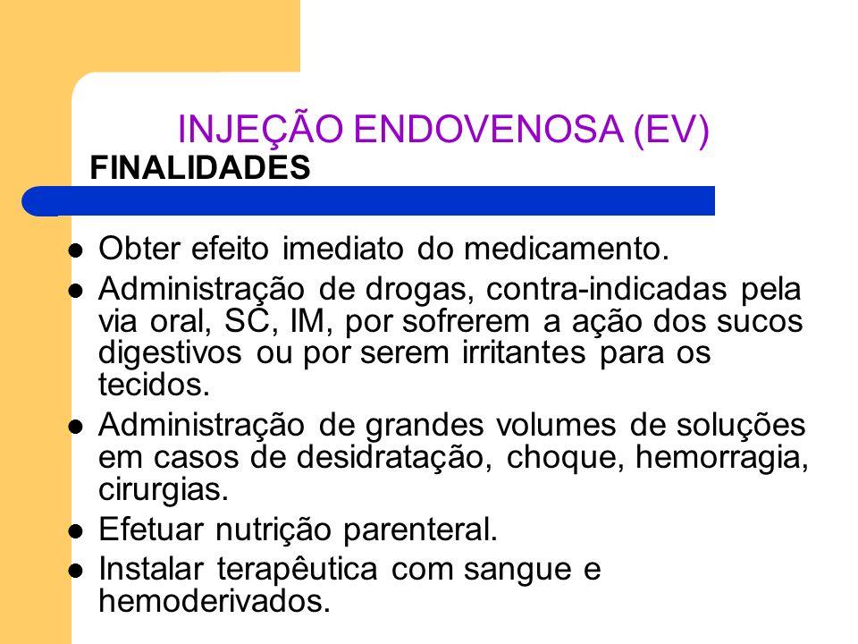 INJEÇÃO ENDOVENOSA (EV) FINALIDADES Obter efeito imediato do medicamento. Administração de drogas, contra-indicadas pela via oral, SC, IM, por sofrere