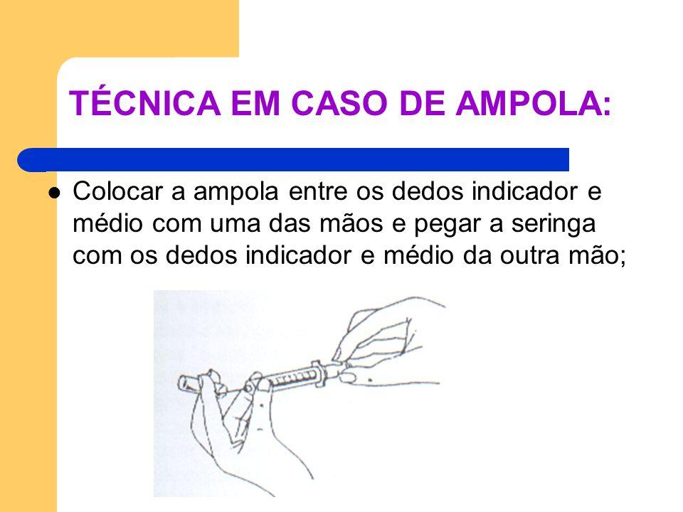 TÉCNICA EM CASO DE AMPOLA: Colocar a ampola entre os dedos indicador e médio com uma das mãos e pegar a seringa com os dedos indicador e médio da outr