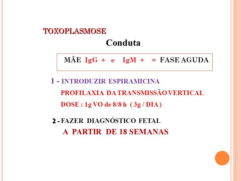 TOXOPLASMOSE TOXOPLASMOSE MÃE IgG + e IgM + = FASE AGUDA 2 - 2 - FAZER DIAGNÓSTICO FETAL A PARTIR DE 18 SEMANAS 1 - INTRODUZIR ESPIRAMICINA PROFILAXIA