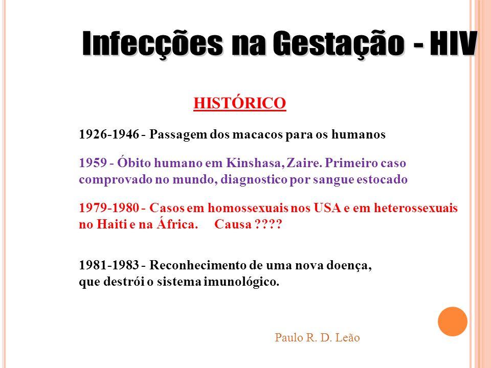 Paulo R. D. Leão HISTÓRICO 1926-1946 - Passagem dos macacos para os humanos 1959 - Óbito humano em Kinshasa, Zaire. Primeiro caso comprovado no mundo,