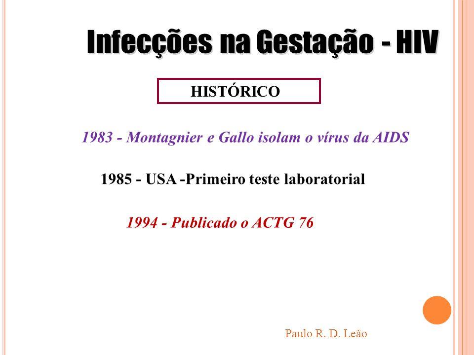 HISTÓRICO 1983 - Montagnier e Gallo isolam o vírus da AIDS 1985 - USA -Primeiro teste laboratorial 1994 - Publicado o ACTG 76 Paulo R. D. Leão