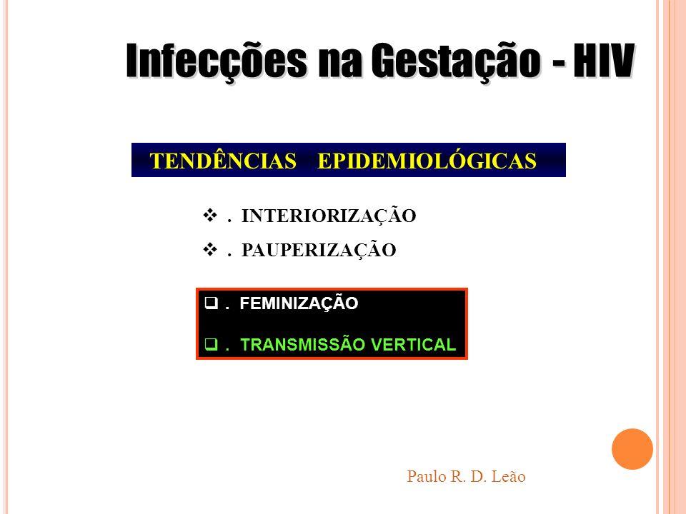 TENDÊNCIAS EPIDEMIOLÓGICAS. INTERIORIZAÇÃO. PAUPERIZAÇÃO Paulo R. D. Leão. FEMINIZAÇÃO. TRANSMISSÃO VERTICAL