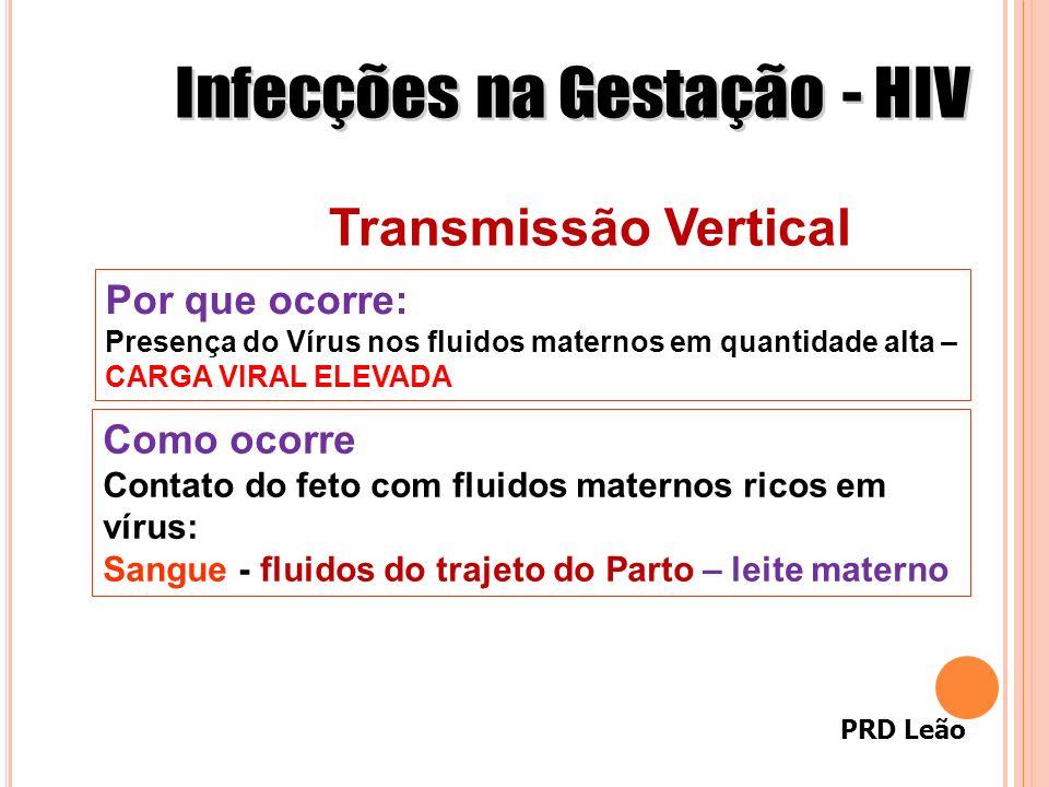 PRD Leão Transmissão Vertical Como ocorre Contato do feto com fluidos maternos ricos em vírus: Sangue - fluidos do trajeto do Parto – leite materno Po