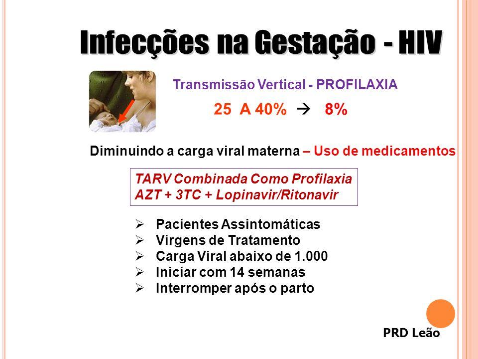 PRD Leão Diminuindo a carga viral materna – Uso de medicamentos Transmissão Vertical - PROFILAXIA 25 A 40% 8% TARV Combinada Como Profilaxia AZT + 3TC