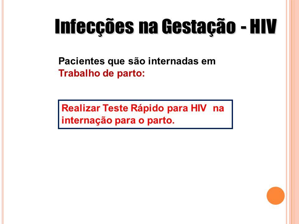 Pacientes que são internadas em Trabalho de parto: Realizar Teste Rápido para HIV na internação para o parto.