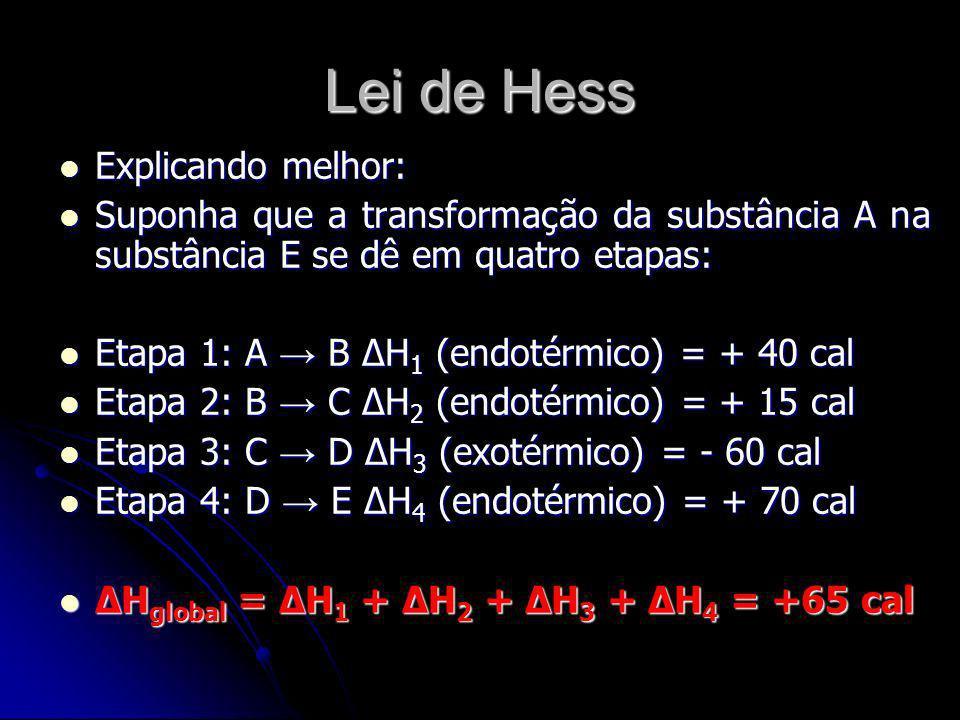 Lei de Hess Explicando melhor: Explicando melhor: Suponha que a transformação da substância A na substância E se dê em quatro etapas: Suponha que a tr