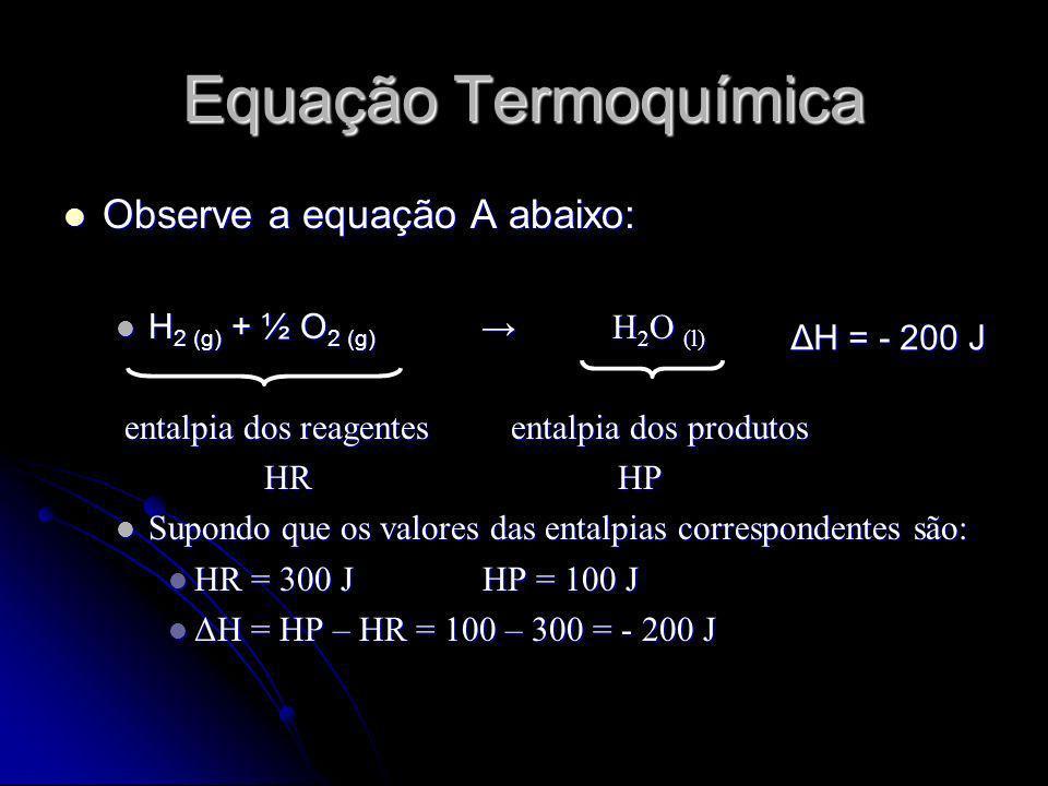 Equação Termoquímica Observe a equação A abaixo: Observe a equação A abaixo: H 2 (g) + ½ O 2 (g) H 2 O (l) H 2 (g) + ½ O 2 (g) H 2 O (l) entalpia dos