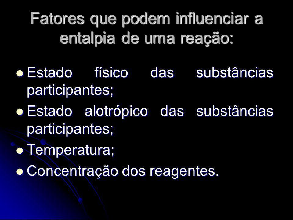 Fatores que podem influenciar a entalpia de uma reação: Estado físico das substâncias participantes; Estado físico das substâncias participantes; Esta