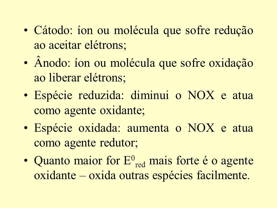 Cátodo: íon ou molécula que sofre redução ao aceitar elétrons; Ânodo: íon ou molécula que sofre oxidação ao liberar elétrons; Espécie reduzida: diminui o NOX e atua como agente oxidante; Espécie oxidada: aumenta o NOX e atua como agente redutor; Quanto maior for E 0 red mais forte é o agente oxidante – oxida outras espécies facilmente.