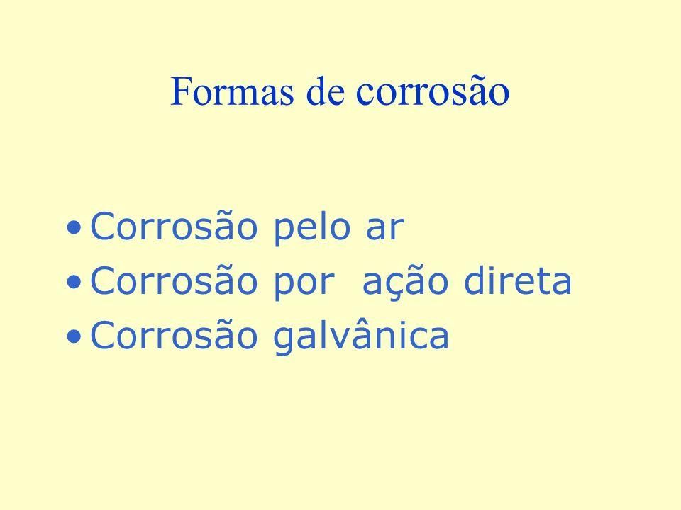 Formas de corrosão Corrosão pelo ar Corrosão por ação direta Corrosão galvânica