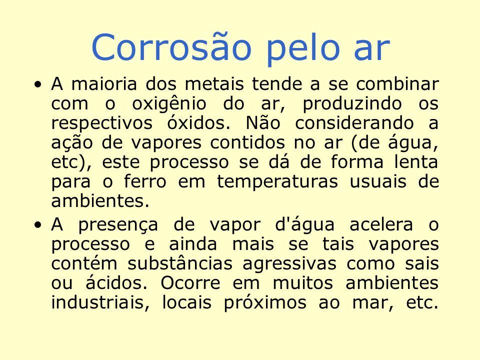 Corrosão pelo ar A maioria dos metais tende a se combinar com o oxigênio do ar, produzindo os respectivos óxidos. Não considerando a ação de vapores c