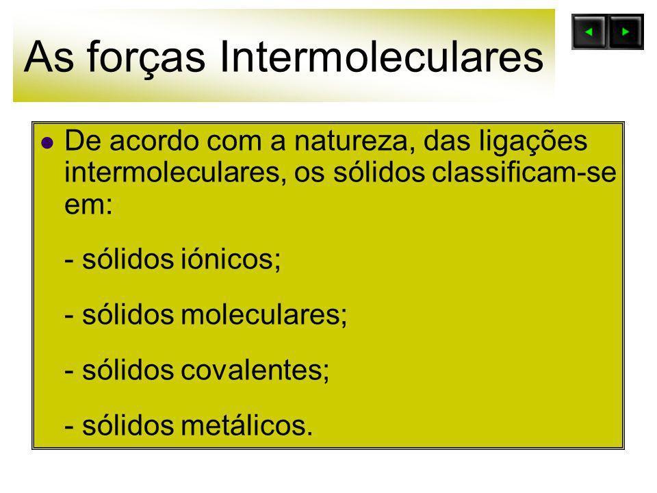 As forças Intermoleculares De acordo com a natureza, das ligações intermoleculares, os sólidos classificam-se em: - sólidos iónicos; - sólidos molecul