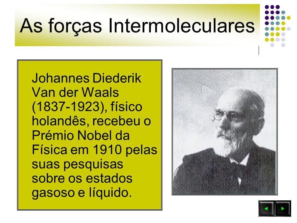 Johannes Diederik Van der Waals (1837-1923), físico holandês, recebeu o Prémio Nobel da Física em 1910 pelas suas pesquisas sobre os estados gasoso e