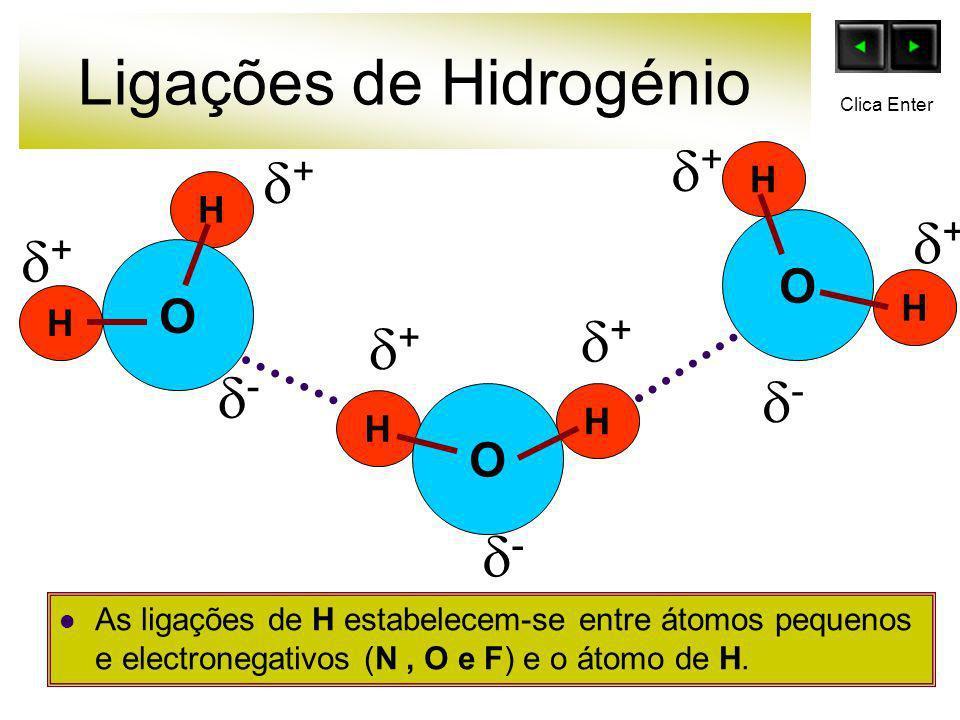 Ligações de Hidrogénio As ligações de H estabelecem-se entre átomos pequenos e electronegativos (N, O e F) e o átomo de H. O H H H H O O H H + - + + +