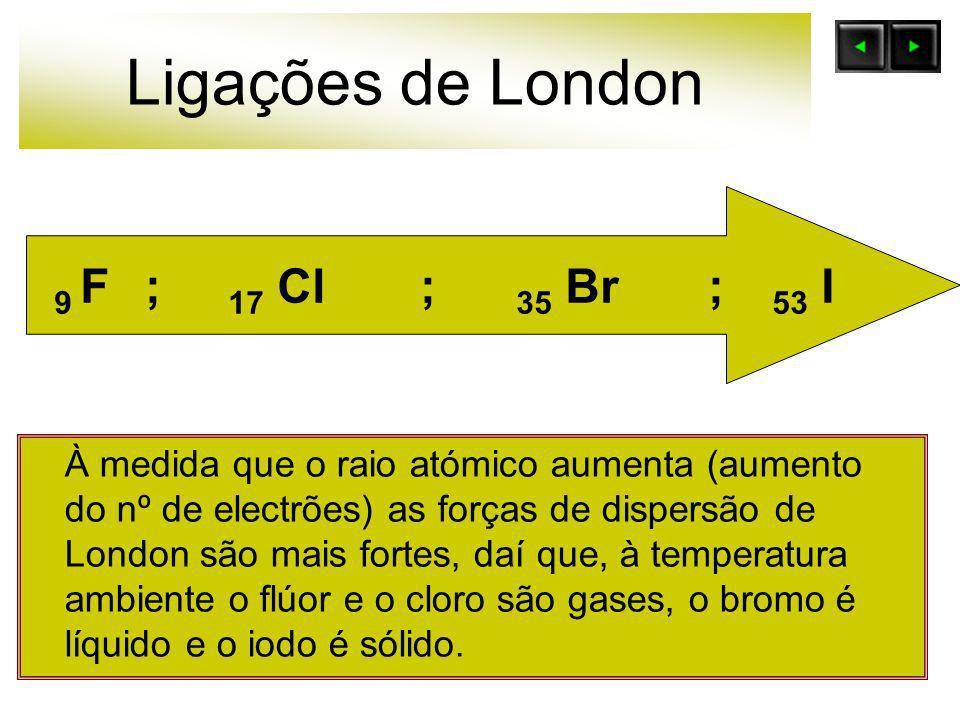 Ligações de London À medida que o raio atómico aumenta (aumento do nº de electrões) as forças de dispersão de London são mais fortes, daí que, à tempe