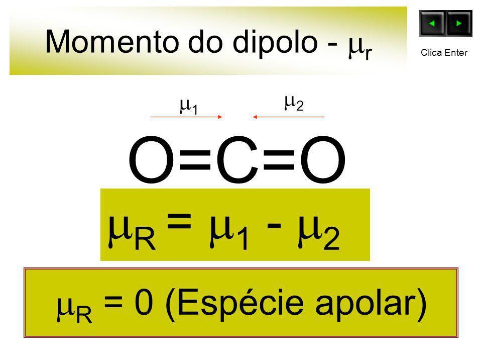 Momento do dipolo - r O=C=O R = 0 (Espécie apolar) 1 2 R = 1 - 2 Clica Enter