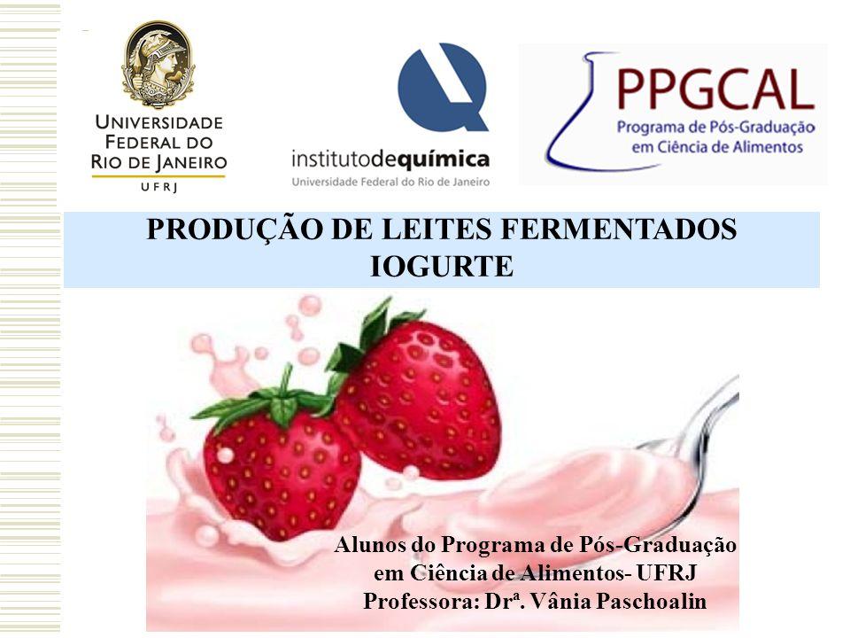 PRODUÇÃO DE LEITES FERMENTADOS IOGURTE Alunos do Programa de Pós-Graduação em Ciência de Alimentos- UFRJ Professora: Drª. Vânia Paschoalin