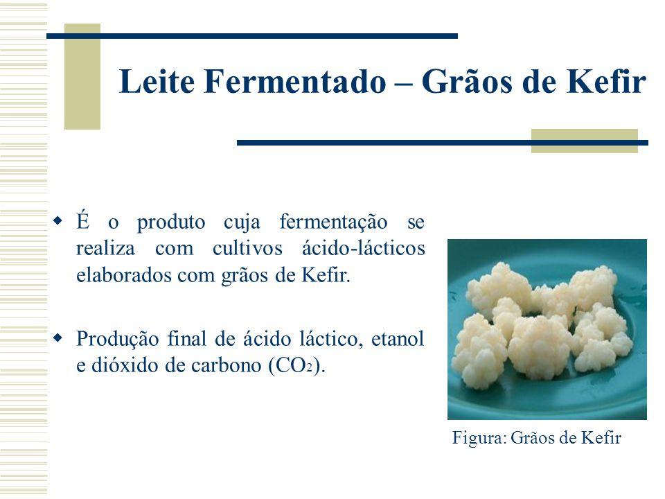 Leite Fermentado – Grãos de Kefir É o produto cuja fermentação se realiza com cultivos ácido-lácticos elaborados com grãos de Kefir. Produção final de