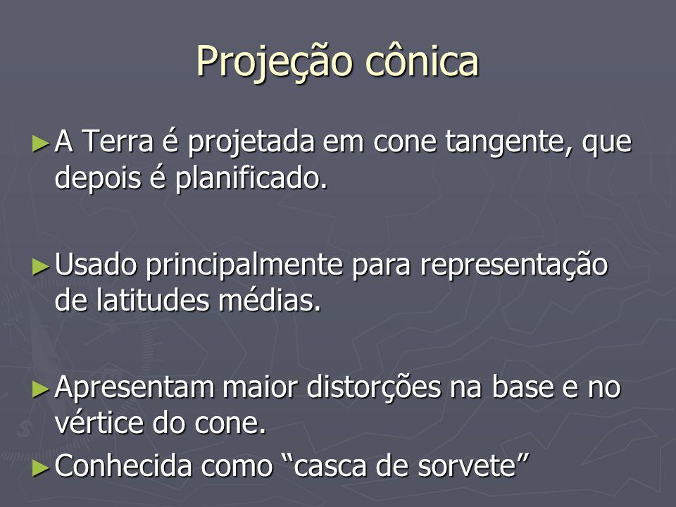 Projeção cônica A Terra é projetada em cone tangente, que depois é planificado.
