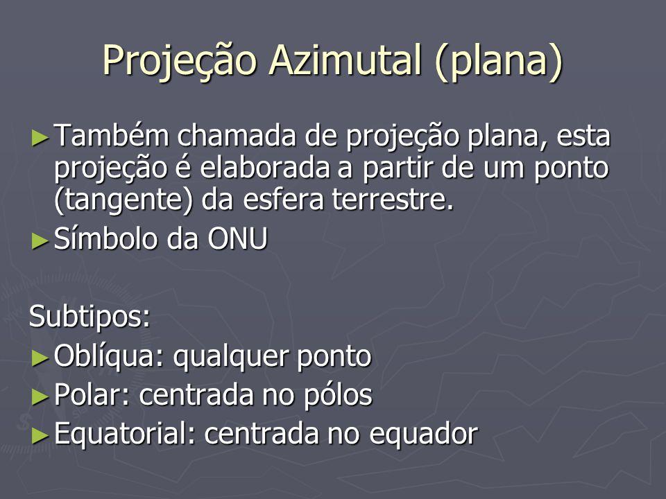 Projeção Azimutal (plana) Também chamada de projeção plana, esta projeção é elaborada a partir de um ponto (tangente) da esfera terrestre.